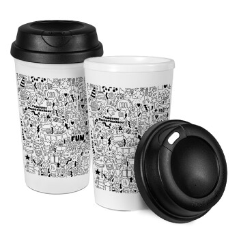 Enjoy the party, Κούπα ταξιδιού πλαστικό (BPA-FREE) με καπάκι βιδωτό, διπλού τοιχώματος (θερμό) 330ml (1 τεμάχιο)