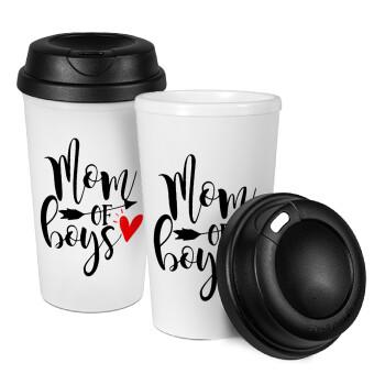 Mom of boys, Κούπα ταξιδιού πλαστικό (BPA-FREE) με καπάκι βιδωτό, διπλού τοιχώματος (θερμό) 330ml (1 τεμάχιο)