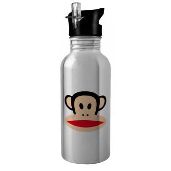 Monkey, Stainless steel παγούρι ποδηλάτου ασημένιο με καλαμάκι (Stainless steel) 600ml