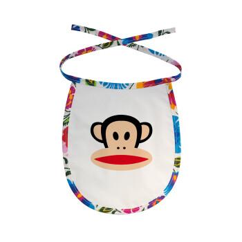 Monkey, Σαλιάρα μωρού αλέκιαστη με κορδόνι Χρωματιστή