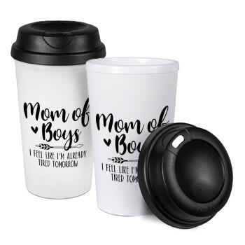 Mom of boys i feel like im already tired tomorrow, Κούπα ταξιδιού πλαστικό (BPA-FREE) με καπάκι βιδωτό, διπλού τοιχώματος (θερμό) 330ml (1 τεμάχιο)