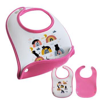Γατούλες, Σαλιάρα μωρού Ροζ κοριτσάκι, 100% Neoprene (18x19cm)