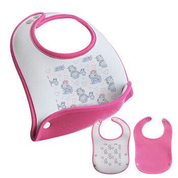 Ιπποπόταμος, Σαλιάρα μωρού Ροζ κοριτσάκι, 100% Neoprene (18x19cm)