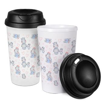 Ιπποπόταμος, Κούπα ταξιδιού πλαστικό (BPA-FREE) με καπάκι βιδωτό, διπλού τοιχώματος (θερμό) 330ml (1 τεμάχιο)