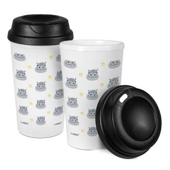 Hippo, Κούπα ταξιδιού πλαστικό (BPA-FREE) με καπάκι βιδωτό, διπλού τοιχώματος (θερμό) 330ml (1 τεμάχιο)
