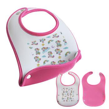 Unicorn pattern, Σαλιάρα μωρού Ροζ κοριτσάκι, 100% Neoprene (18x19cm)