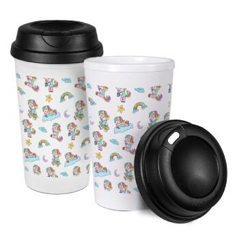 Unicorn pattern, Κούπα ταξιδιού πλαστικό (BPA-FREE) με καπάκι βιδωτό, διπλού τοιχώματος (θερμό) 330ml (1 τεμάχιο)