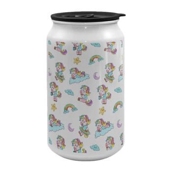 Unicorn pattern, Κούπα ταξιδιού μεταλλική με καπάκι (tin-can) 500ml