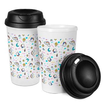 Unicorn pattern white, Κούπα ταξιδιού πλαστικό (BPA-FREE) με καπάκι βιδωτό, διπλού τοιχώματος (θερμό) 330ml (1 τεμάχιο)