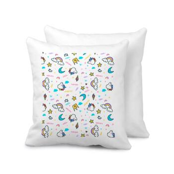 Unicorn pattern white, Μαξιλάρι καναπέ 40x40cm περιέχεται το γέμισμα