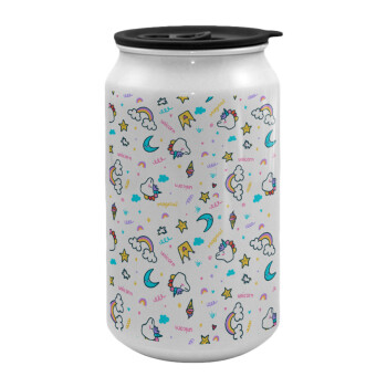 Unicorn pattern white, Κούπα ταξιδιού μεταλλική με καπάκι (tin-can) 500ml