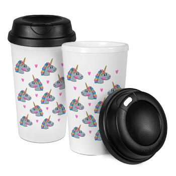 Unicorn, Κούπα ταξιδιού πλαστικό (BPA-FREE) με καπάκι βιδωτό, διπλού τοιχώματος (θερμό) 330ml (1 τεμάχιο)