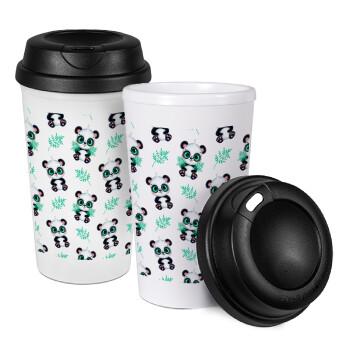 Panda, Κούπα ταξιδιού πλαστικό (BPA-FREE) με καπάκι βιδωτό, διπλού τοιχώματος (θερμό) 330ml (1 τεμάχιο)