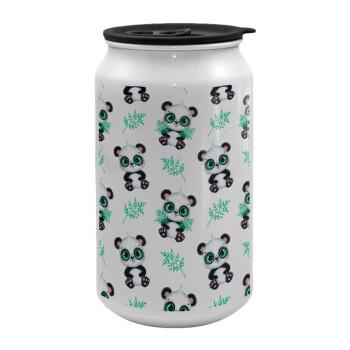 Panda, Κούπα ταξιδιού μεταλλική με καπάκι (tin-can) 500ml