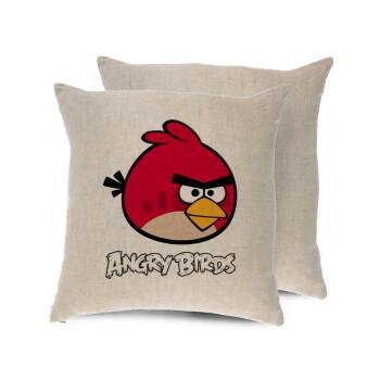 Angry birds Terence, Μαξιλάρι καναπέ ΛΙΝΟ 40x40cm περιέχεται το γέμισμα