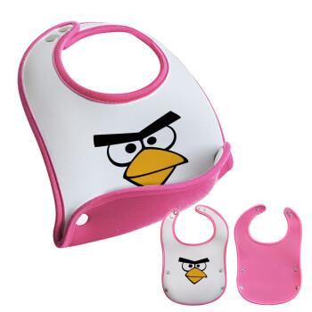 Angry birds eyes, Σαλιάρα μωρού Ροζ κοριτσάκι, 100% Neoprene (18x19cm)