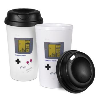 Gameboy, Κούπα ταξιδιού πλαστικό (BPA-FREE) με καπάκι βιδωτό, διπλού τοιχώματος (θερμό) 330ml (1 τεμάχιο)