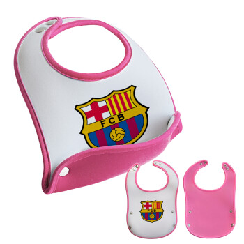 Barcelona FC, Σαλιάρα μωρού Ροζ κοριτσάκι, 100% Neoprene (18x19cm)