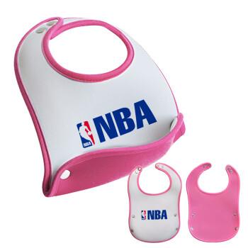 NBA, Σαλιάρα μωρού Ροζ κοριτσάκι, 100% Neoprene (18x19cm)