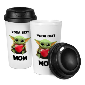 Yoda Best mom, Κούπα ταξιδιού πλαστικό (BPA-FREE) με καπάκι βιδωτό, διπλού τοιχώματος (θερμό) 330ml (1 τεμάχιο)