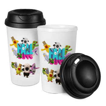 FALL GUYS, Κούπα ταξιδιού πλαστικό (BPA-FREE) με καπάκι βιδωτό, διπλού τοιχώματος (θερμό) 330ml (1 τεμάχιο)