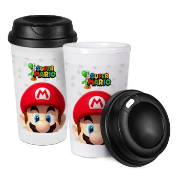 Super mario, Κούπα ταξιδιού πλαστικό (BPA-FREE) με καπάκι βιδωτό, διπλού τοιχώματος (θερμό) 330ml (1 τεμάχιο)