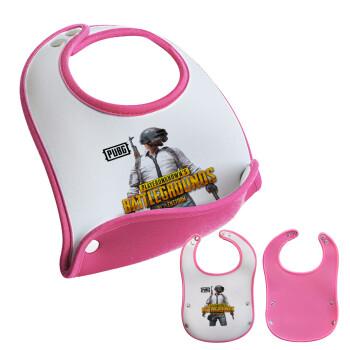 PUBG battleground royale, Σαλιάρα μωρού Ροζ κοριτσάκι, 100% Neoprene (18x19cm)