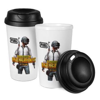 PUBG battleground royale, Κούπα ταξιδιού πλαστικό (BPA-FREE) με καπάκι βιδωτό, διπλού τοιχώματος (θερμό) 330ml (1 τεμάχιο)