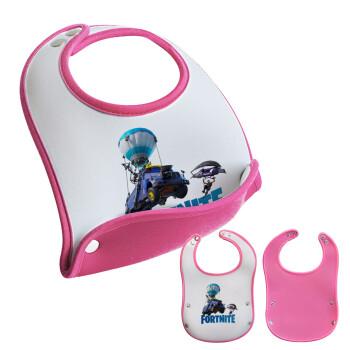 Fortnite Bus, Σαλιάρα μωρού Ροζ κοριτσάκι, 100% Neoprene (18x19cm)