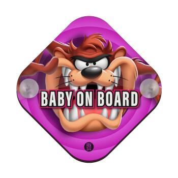 Taz, Σήμανση αυτοκινήτου Baby On Board ξύλινο με βεντουζάκια (16x16cm)
