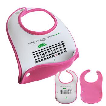 Space invaders, Σαλιάρα μωρού Ροζ κοριτσάκι, 100% Neoprene (18x19cm)