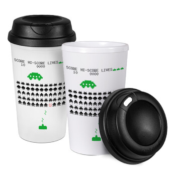 Space invaders, Κούπα ταξιδιού πλαστικό (BPA-FREE) με καπάκι βιδωτό, διπλού τοιχώματος (θερμό) 330ml (1 τεμάχιο)