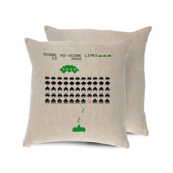 Space invaders, Μαξιλάρι καναπέ ΛΙΝΟ 40x40cm περιέχεται το γέμισμα
