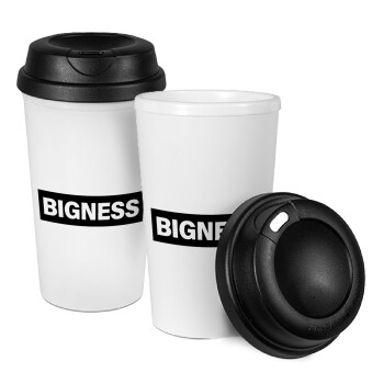BIGNESS, Κούπα ταξιδιού πλαστικό (BPA-FREE) με καπάκι βιδωτό, διπλού τοιχώματος (θερμό) 330ml (1 τεμάχιο)