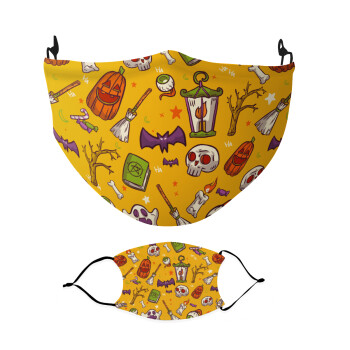 Happy Halloween, Μάσκα υφασμάτινη Ενηλίκων πολλαπλών στρώσεων με υποδοχή φίλτρου