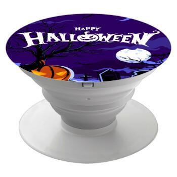 Happy Halloween cemetery, Pop Socket Λευκό Βάση Στήριξης Κινητού στο Χέρι