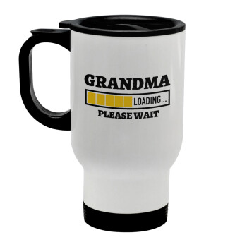 Grandma Loading, Κούπα ταξιδιού ανοξείδωτη με καπάκι, διπλού τοιχώματος (θερμό) λευκή 450ml