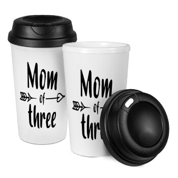Mom of three, Κούπα ταξιδιού πλαστικό (BPA-FREE) με καπάκι βιδωτό, διπλού τοιχώματος (θερμό) 330ml (1 τεμάχιο)