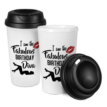 I am the fabulous Birthday Diva, Κούπα ταξιδιού πλαστικό (BPA-FREE) με καπάκι βιδωτό, διπλού τοιχώματος (θερμό) 330ml (1 τεμάχιο)