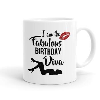 I am the fabulous Birthday Diva, Κούπα, κεραμική, 330ml (1 τεμάχιο)