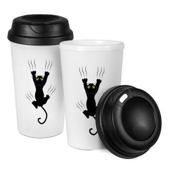 Γατούλα γρατζουνιά, Κούπα ταξιδιού πλαστικό (BPA-FREE) με καπάκι βιδωτό, διπλού τοιχώματος (θερμό) 330ml (1 τεμάχιο)