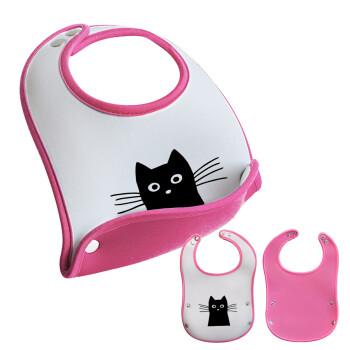 Μαύρη γάτα, Σαλιάρα μωρού Ροζ κοριτσάκι, 100% Neoprene (18x19cm)