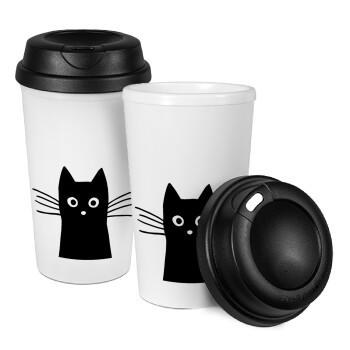 Μαύρη γάτα, Κούπα ταξιδιού πλαστικό (BPA-FREE) με καπάκι βιδωτό, διπλού τοιχώματος (θερμό) 330ml (1 τεμάχιο)