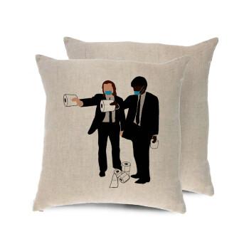 Pulp Fiction 3 meter away, Μαξιλάρι καναπέ ΛΙΝΟ 40x40cm περιέχεται το γέμισμα