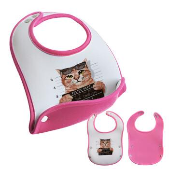 Cool cat, Σαλιάρα μωρού Ροζ κοριτσάκι, 100% Neoprene (18x19cm)