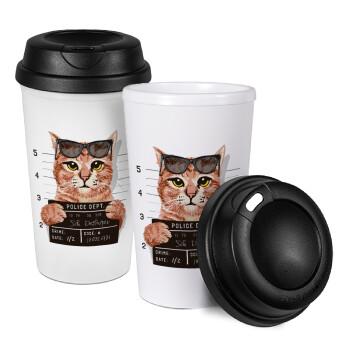 Cool cat, Κούπα ταξιδιού πλαστικό (BPA-FREE) με καπάκι βιδωτό, διπλού τοιχώματος (θερμό) 330ml (1 τεμάχιο)