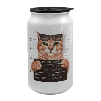 Cool cat, Κούπα ταξιδιού μεταλλική με καπάκι (tin-can) 500ml