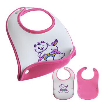 Cute cat unicorn, Σαλιάρα μωρού Ροζ κοριτσάκι, 100% Neoprene (18x19cm)