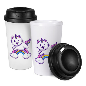 Cute cat unicorn, Κούπα ταξιδιού πλαστικό (BPA-FREE) με καπάκι βιδωτό, διπλού τοιχώματος (θερμό) 330ml (1 τεμάχιο)