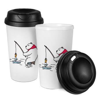 Αρκούδα ψαρεύει, Κούπα ταξιδιού πλαστικό (BPA-FREE) με καπάκι βιδωτό, διπλού τοιχώματος (θερμό) 330ml (1 τεμάχιο)